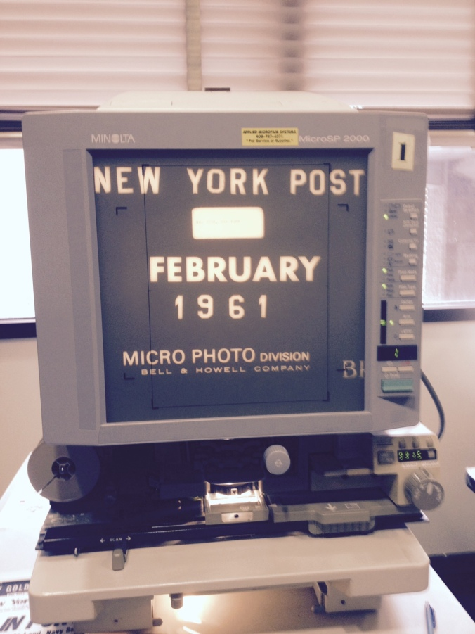 A microfilm machine…and yes, they are still in use.